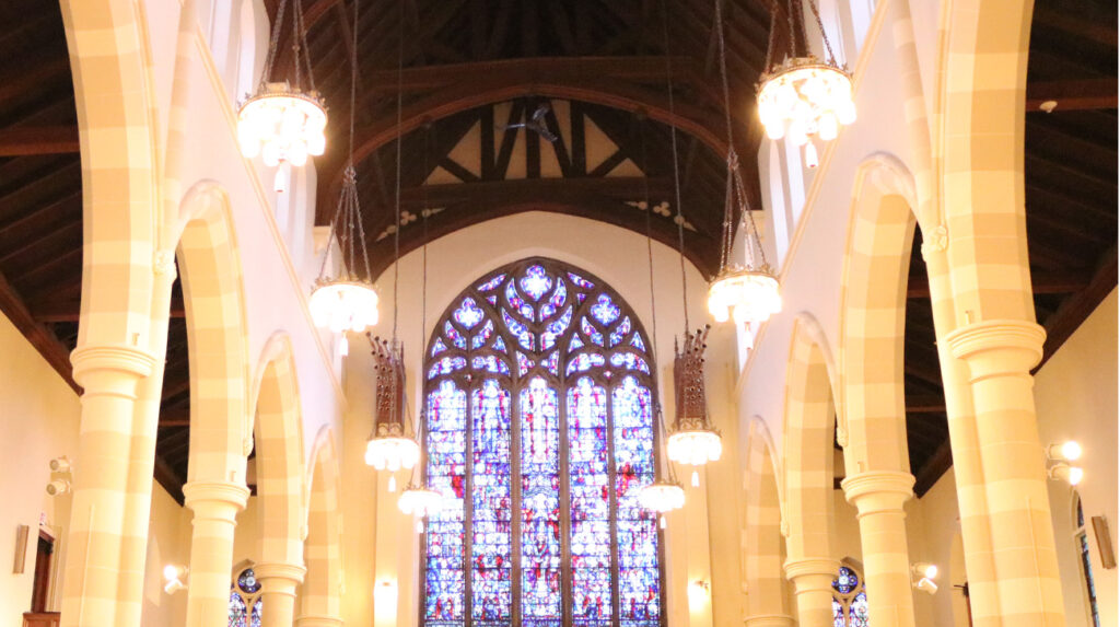 Looking up at the stained glass windows of Pine Street Presbyterian