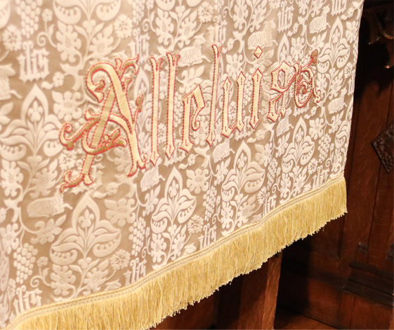 A tapestry draped over a table